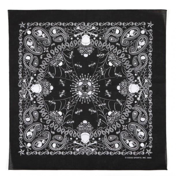 Pañuelo motero negro con calaveras