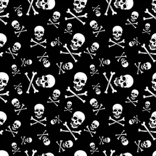 Pañuelo motero negro estampado con calaveras piratas